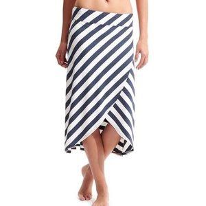 Athleta Blue White Striped Faux Wrap Midi Skirt M